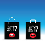Paper bag with happy new year 2017 on it illustration in colorfu. Paper bag with happy new year 2017 on it illustration graphic in colorful Stock Image