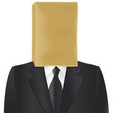 Paper bag head. Paper bag on the head of charcoal suited man isolated on white Royalty Free Stock Photo