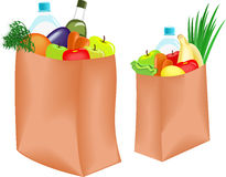 Paper bag with healthy food Stock Images