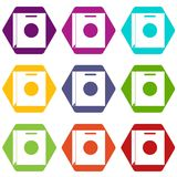 Paper bag icon set color hexahedron Royalty Free Stock Photo
