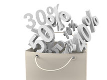 Paper bag isolated with discount rate Stock Photo