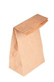 Paper bag (lunch bag) isolated. On white background Stock Photos