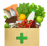 Paper bag with medical green cross Stock Images