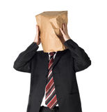 Paper bag over head Stock Images