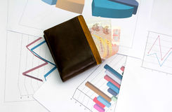 Paper bag place on sheet graph and chart for report work Royalty Free Stock Photos