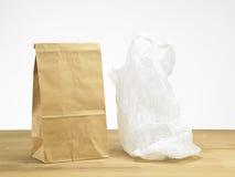 Paper bag and plastic bag Stock Photos