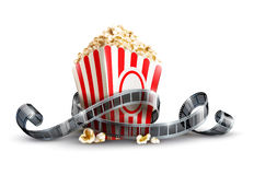 Paper bag with popcorn and movie reel. Vector illustration  on white background EPS10. Transparent objects used for shadows and lights drawing Royalty Free Stock Photo