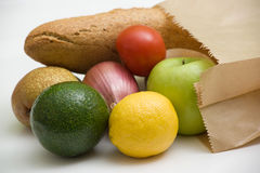 Paper bag with raw food Royalty Free Stock Photos