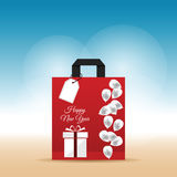 Paper bag red with happy new year 2017 and balloon on it illustr Royalty Free Stock Photo