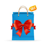 Paper Bag and Ribbon Present Concept. Vector Stock Image