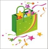 Paper bag, ribbon Stock Images