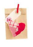 Paper bag  for valentines day with heart Royalty Free Stock Images