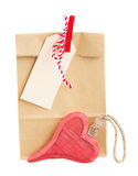 Paper bag  for valentines day with tag and  heart Stock Photography