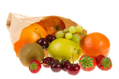 Paper bag with various fruit Stock Image