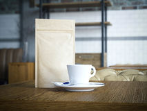 Paper bag and white cup. 3d rendering Royalty Free Stock Image