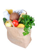 Paper Bag With Food On A White Background Stock Images