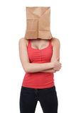 Paper bag woman Royalty Free Stock Image