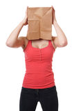 Paper bag woman Royalty Free Stock Photo