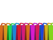 PAPER BAGS. Three colorful paper shopping bags, isolated on Stock Photo