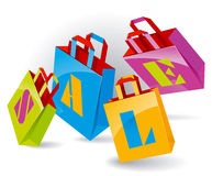 Paper Bags. For shopping with SALE inscription. Vector Illustration Stock Image