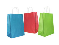 Paper bags. Three colorful paper shopping bags, isolated on white Royalty Free Stock Image