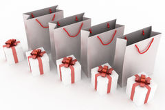 Paper bags and boxes with gifts. 3d illustration of paper bags and boxes with gifts on a white background Stock Photo
