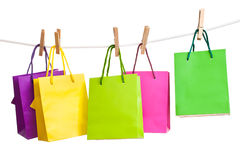 Paper bags for clothes pins Stock Photos