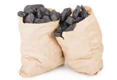 Paper bags with coal Stock Images