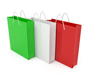 Paper bags colored like Italian flag Stock Image