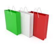 Paper bags colored like Italian flag. 3d illustration Stock Image