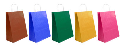 Paper bags of different colors Stock Images
