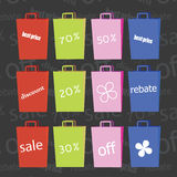 Paper bags and discount signs. Stock Image