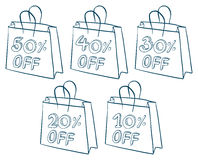 Paper bags with discounts Stock Photos