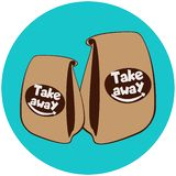 Paper bags with fast food.Take away cafe logo royalty free illustration