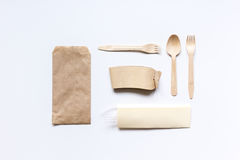 Paper bags for food delivery restourant white table background top view mockup Stock Photo