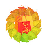 Paper Bags Hot Price in a Wreath from Leaves. Royalty Free Stock Photos