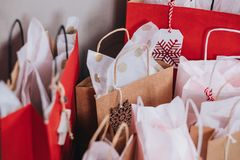 Paper Bags Near Wall Stock Photo