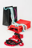 Paper bags with pearls Royalty Free Stock Images