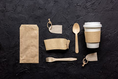 Paper bags and plastic cup for take away set top view space for text Royalty Free Stock Images