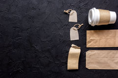 Paper bags and plastic cup for take away set top view space for text Stock Photography