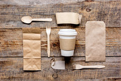 Paper bags and plastic cup for take away set top view space for text Royalty Free Stock Photography