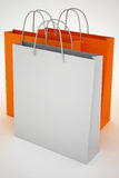 Paper bags for shopping. Blank and color bag vector illustration