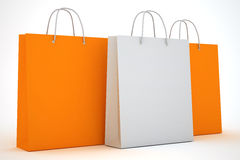 Paper bags for shopping or sale. Paper bags for shopping. Blank and color bags royalty free illustration