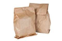 Paper bags of tea. Over a white background Royalty Free Stock Photos