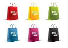 Paper bags on white. Vector. Isolated. Colored. Royalty Free Stock Image