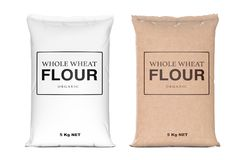 Paper Bags of Whole Wheat Organic Flour. 3d Rendering. Paper Bags of Whole Wheat Organic Flour on a white background. 3d Rendering Stock Photography