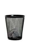 Paper ball in black wastepaper basket Royalty Free Stock Photography
