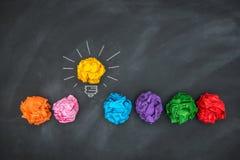 Paper Ball on Blackboard, Idea Concept Stock Photo