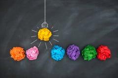 Paper Ball on Blackboard, Idea Concept Stock Image