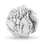 Paper ball - Crumpled junk sheet of print text script writing paper isolated . A screwed up piece of paper in round shape., Junk paper can be recycle on white Royalty Free Stock Photo